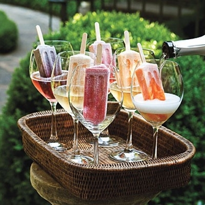Perfect for a hot summer day.  Homemade fruit popsicles.  Pour prosecco over the top and stir.