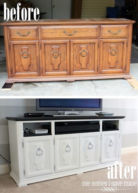 Turn an old dresser into an entertainment center! Remove the drawers, paint the entire dresser (along with the inside of where the drawers used to be) and swap out the old handles & knobs for new ones!