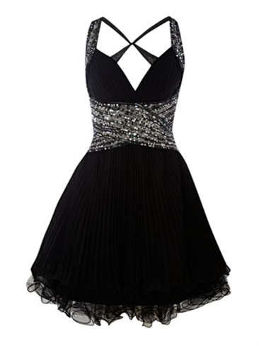 FOREVER UNIQUE  Pleated Diamante Detail Dress