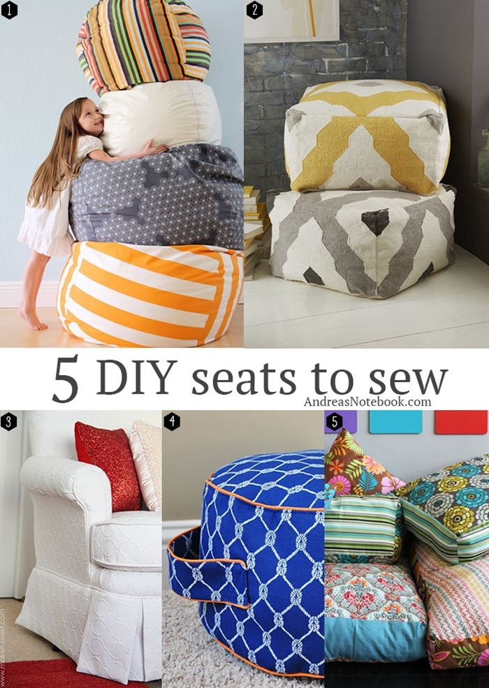 Grab your sewing machine and your favorite fabric and start making these great DIY seats for your home! From bean bag chairs to poufs and floor cushions there's a project perfect for your lifestyle!