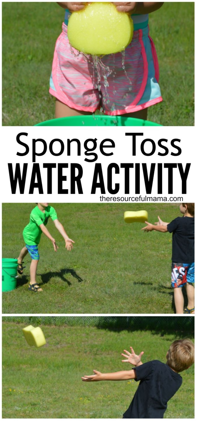 This sponge toss water activity is a great way for kids or adults to cool off this summer. It's super easy and inexpensive to put together and works great for group or family activities.