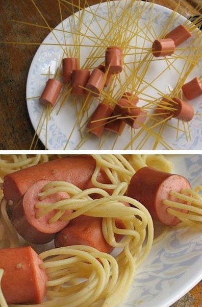 Spaghetti Dogs...fun for the grandkids!