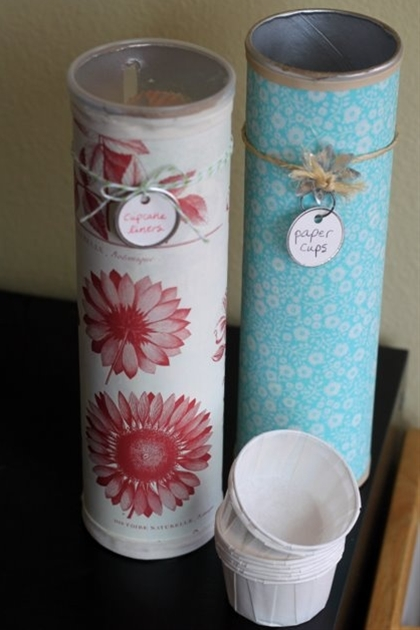 Paper cup, cupcake liners, craft supplies - using Pringles cans