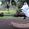 Daughter who doesn't even know she's a nerd yet gets speeder bike rocking horse from #1 nerd dad.