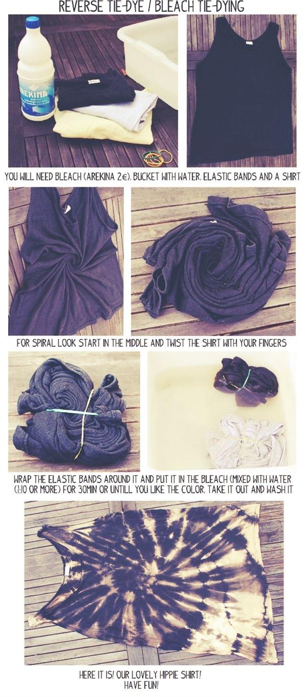 bleach tie dye and reverse tie dye.
