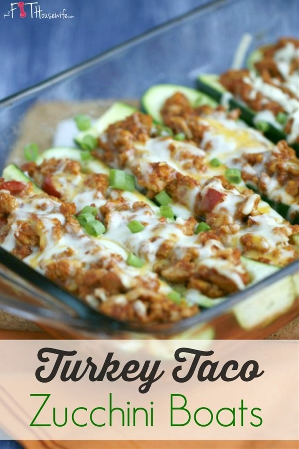 For a low-carb spin on taco night, try these healthy and delicious Turkey Taco Zucchini Boats! Also great for those following the 21 Day Fix.