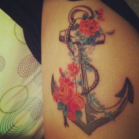 Flowers & anchor tattoo