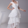 A Line/Princess V-Neck High Low Organza dress with Pleats