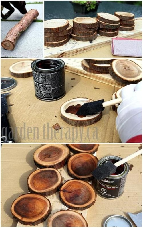 maybe instead of stain, soak in water color (multi-colors personally) and then clear varnish
