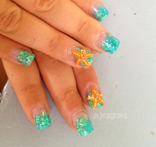 I like the concept, blue nails and a starfish design