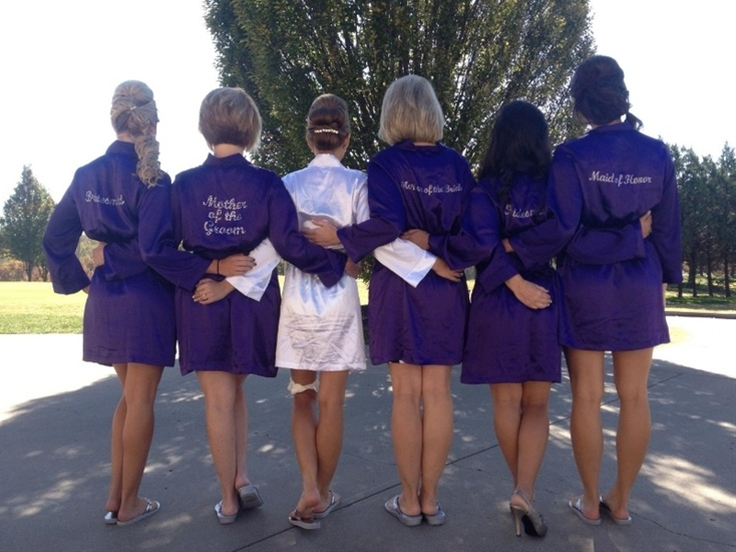 Kimono style robes make for great getting ready pictures on the wedding day. Available in embroidery, custom embroidery and rhinestones. Perfect for wedding day pictures!