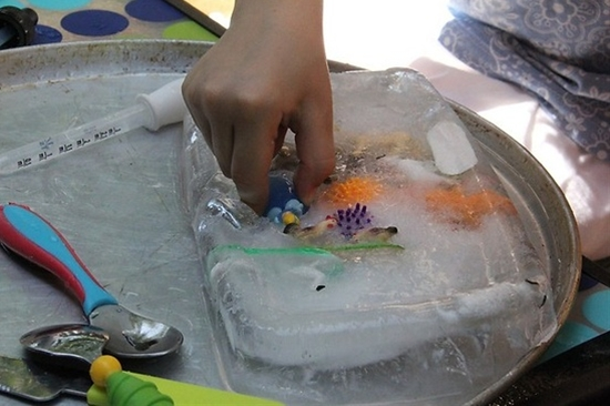 excavating toys from ice -- fun for hot summer days