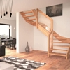 Contemporary Open Wooden Frame Staircases with Glass Railing by Rintal - Visio
