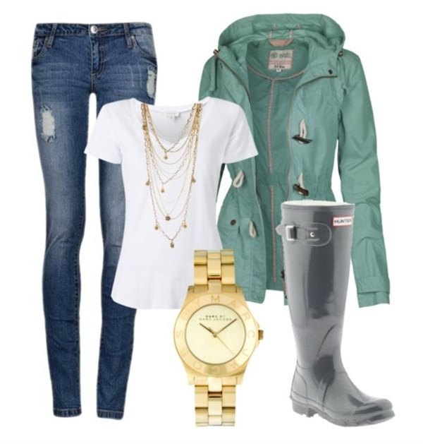 A basic white tee will prevent you from overheating and provides the perfect base for a statement necklace and a colorful raincoat. Slip on your rain boots and complete the look with a bold watch.