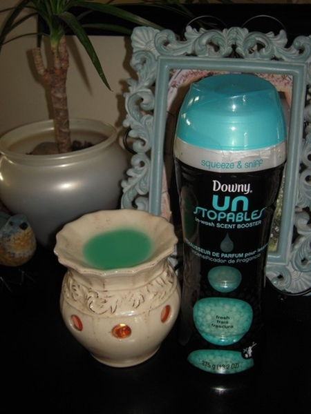 Downy Unstoppables.....I'm addicted to you... I love how it makes my clothes smell, so I decided to try it out it my burner...Mmmmm...smells like fresh laundry. home-sweet-home NOW THAT'S AN IDEA!--- What?! This works?!?!