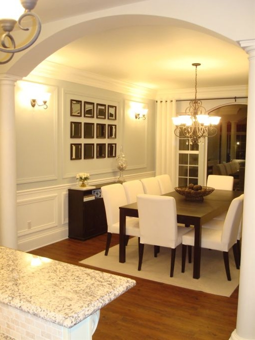 dining room idea, ice blue wall with white and woodwork