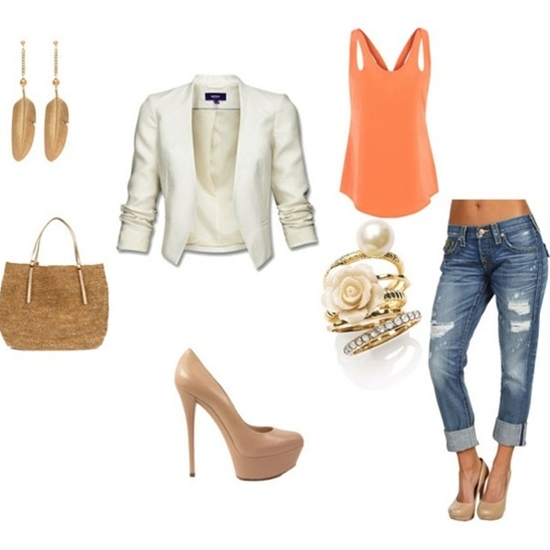 orange tank, blazer, nude heels, distressed denim