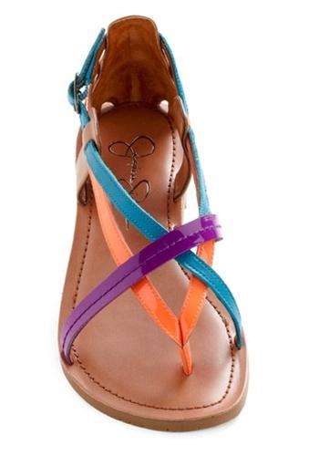 neon summer sandals.