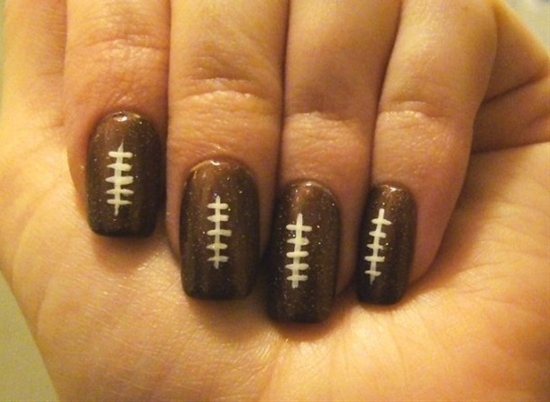 football nails but do it in team colors