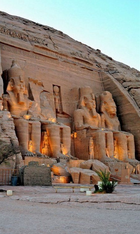 The temple was built by Ramses II to commemorate his victory at the Battle of Kadesh (ca. 1274 BC). It is dedicated to the worship of Ramses own (the pharaohs were considered gods) and the most important deities of ancient Egypt, Amun, Ra and Ptah.