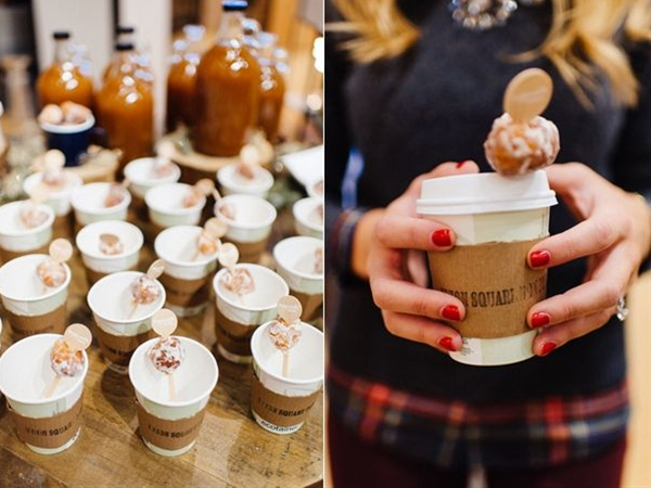Cozying up with some warm apple cider + doughnut holes and getting your craft on with your besties – doesn't it sound like a fun bridal shower idea for a winter