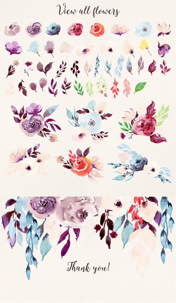 Love this gorgeous collection of watercolor flower clip art. SO adorable