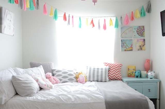 Pillow Thought blog: Lexi's Room. Love the white and bright colours for a girls room. Also the layout of a small bedroom.