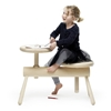 Mia Cullin models wooden benches on piano stools for Orkester collection