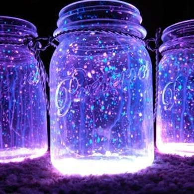 Although any lantern can light up the night, those powered by glow sticks are especially fanciful. Creating your own glow in a dark lantern is as easy as 1-2-3. Snap a glow stick, cut it open, and shake it into a jar. Screw on the top and enjoy the glow. These lanterns can last up to a week, depending on the strength of the chemicals and the temperature outside.