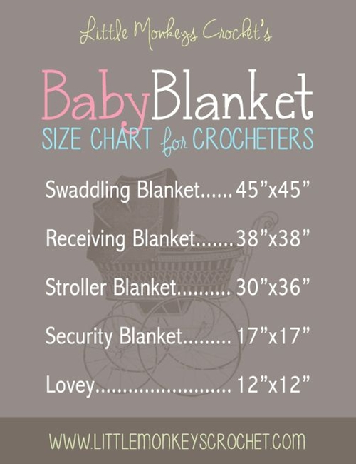 I don't know about you, but I have quite a few baby showers to attend this summer. Usually when I think of crocheting something for a shower, my mind always goes to blankets. While there's no hard-and-fast rule about what size each type of blanket should be, I've made myself a handy chart to reference when I start a new blanket project that includes the sizes that I like to crochet them to be. I'm sharing it with you, so be sure to pin it so you'll have it ready the next time  you start a blanket!