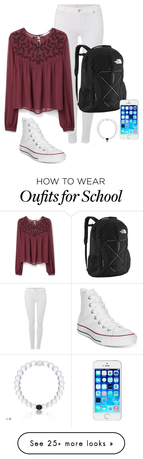 school outfit by valeriaveil on Polyvore featuring Converse, 7 For All Mankind, The North Face, MANGO, women's clothing, women, female, woman, misses and juniors