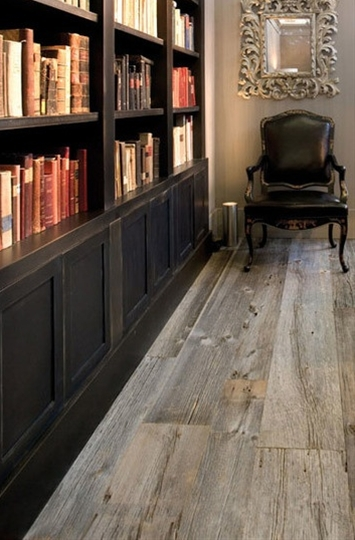 We love the look of weathered wood, especially if it has a history. Flooring designer Ebony and Co has a line of unmilled barnwood that's been recovered from 150-year-old American barns scheduled for demolition, and these photos give just a glimpse into the wood's reuse potential.