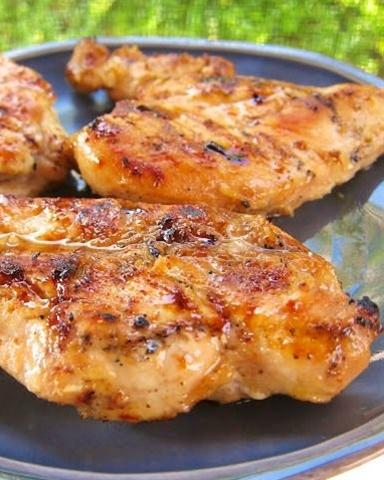 Ingredients: 1/4 cup cider vinegar,   3 Tbsp prepared dijon mustard,   3 cloves garlic, minced,   3 Tbsp lime juice,  4 1/2 tsp lemon juice,  1/2 cup brown sugar,   1/2 teaspoons salt,   1/4 tsp black pepper,  3 Tbsp olive oil,   6 skinless, boneless chicken breast halves.