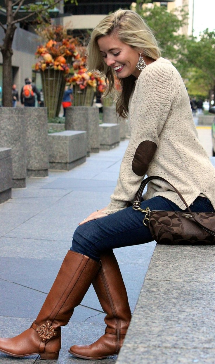 sweater with elbow patches, Tory Burch Riding boots and coach purse.
