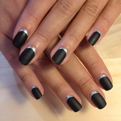Matte Black And Silver Nails Matt Black And Silver i Die