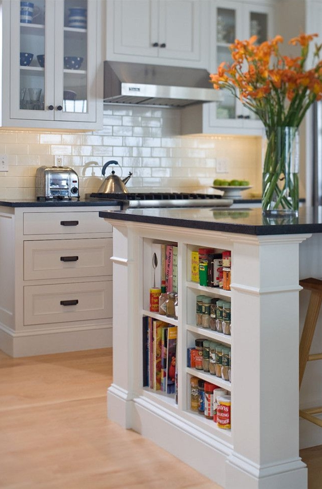 """This is a great kitchen with classic black & white elements. Countertop is """"honed black absolute granite""""."""