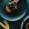 Butter Braised Pork Chops, Balsamic Pickled Blueberry Sauce