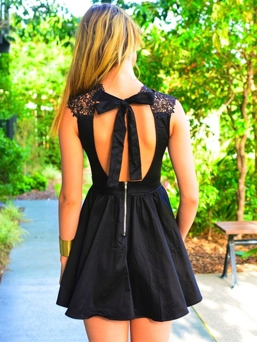 lovely open back sleeveless dress, bow tie back with lace shoulders, cool exposed zipper, lbd with flirty, sexy and tough attitude