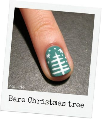 Come on & get festive. Easy Christmas tree: paint nails green, then use white striper polish to create tree.