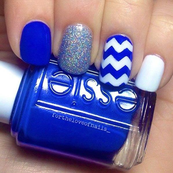 blue chevron nails with glitter