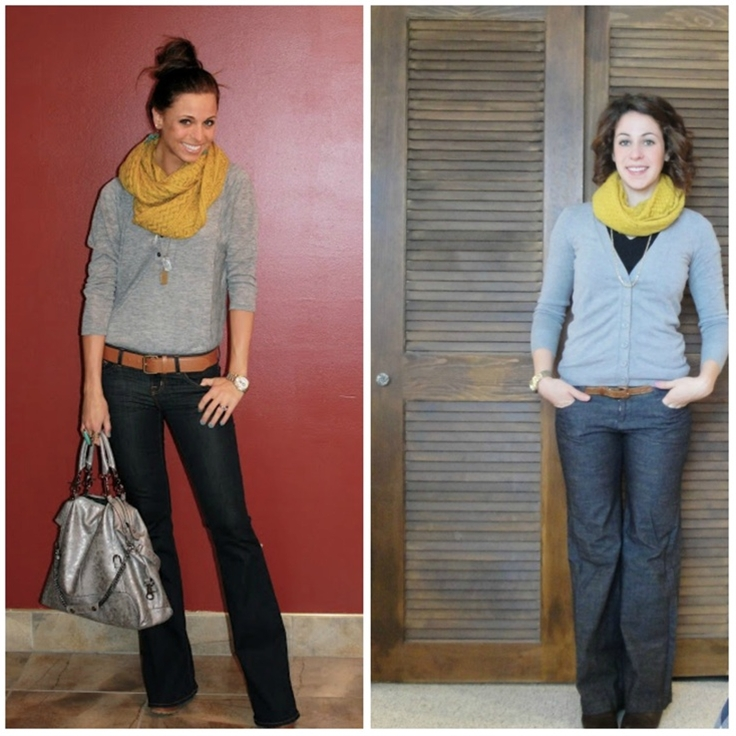 Bright yellow for a cold snowy day. Cute casual outfit.