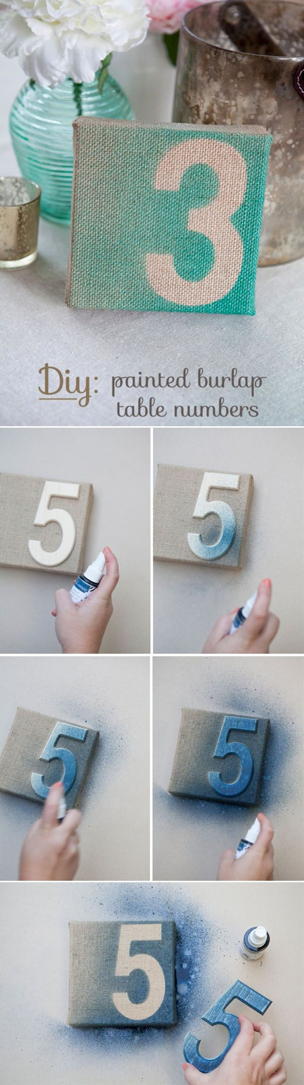 After playing with the color shine, I knew those burlap canvases would make the perfect palette! So without further ado, here are my painted burlap table numbers… which would be perfect for any rustic or shabby chic wedding!