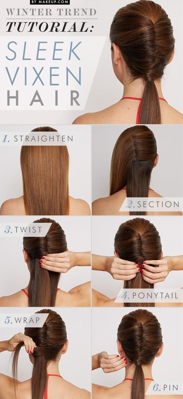 The sleek vixen hairstyle can also be a cool option for the office women. It works better on straight hair. Some bobby pins can help fix. The ponytail holder is wapped by a stand of hair.