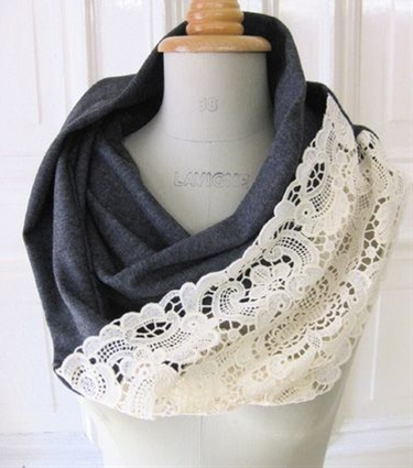 DIY Lace Infinity Scarf. Take an old sweater and cut the torso away from the rest, then sew lace along the cut edge. Yes!