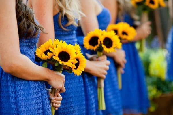 Love these colors - cornflower blue bridesmaids dresses, yellow sunflower bouquets, rustic blue and yellow wedding, Kim J Martin Photography | See more about bridesmaid dresses yellow, blue bridesmaid dresses and sunflower bouquets.