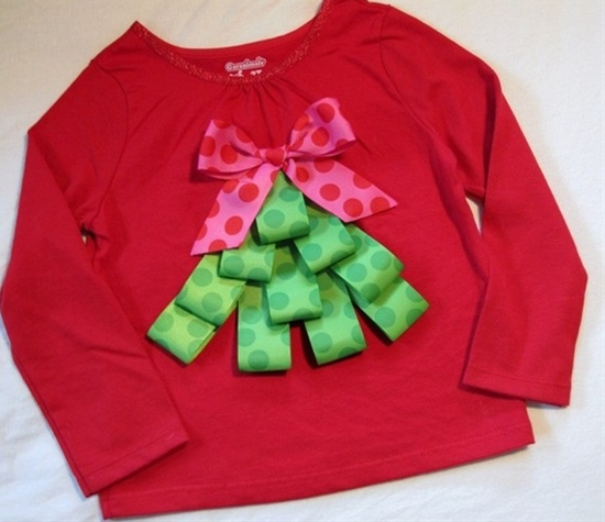 Christmas tree ribbon shirt