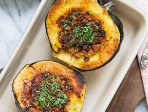 Recipe: Acorn Squash Stuffed with Bread, Cheese, and Bacon — Recipes from The Kitchn