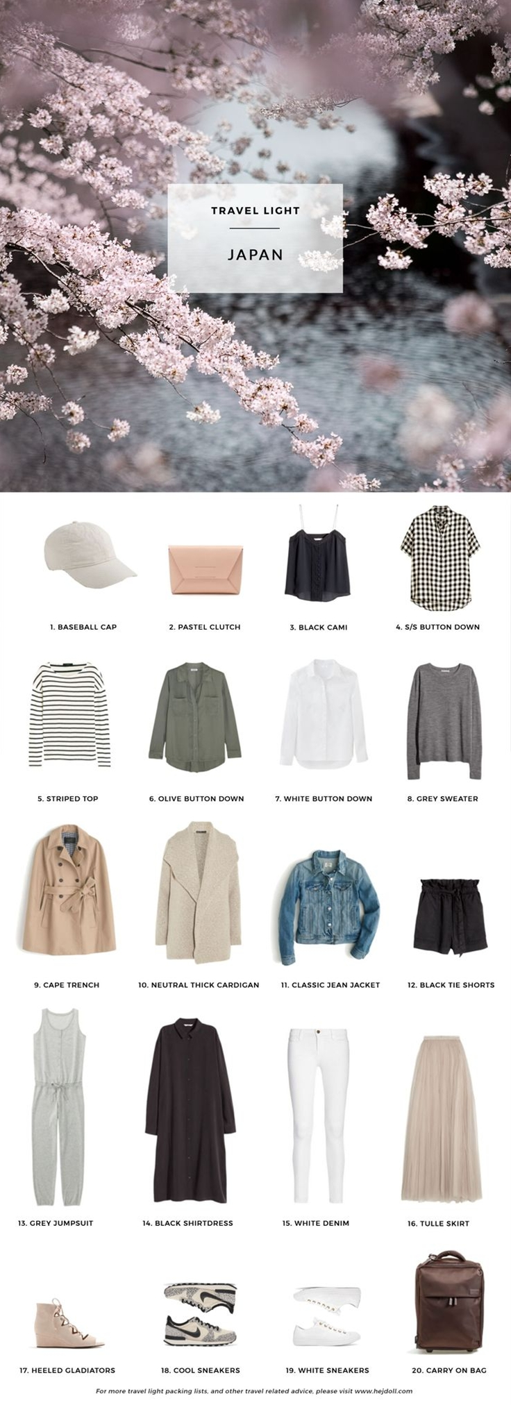 What to pack for Japan in the Spring. 20 items, 10+ days/outfits, 1 carry on suitcase. #travellight #packingtips #traveltips