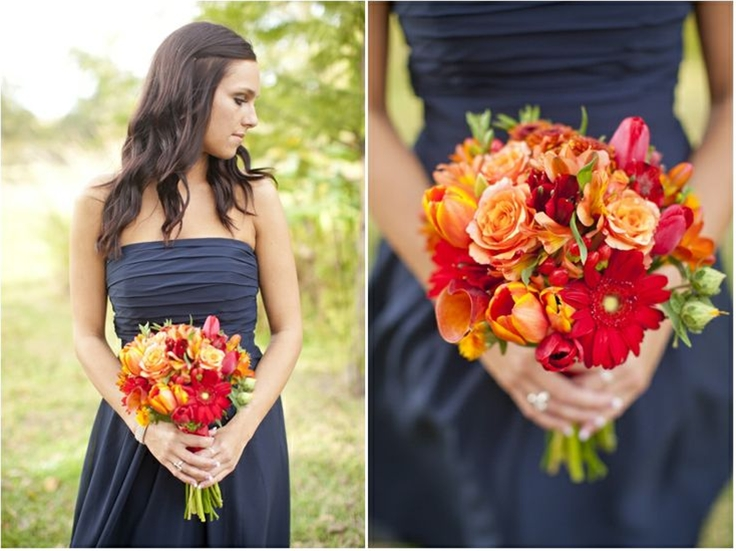 orange flowers, bridesmaids bouquets, navy bridesmaid dress, fall wedding, College Station, TX, Mary Fields Photography