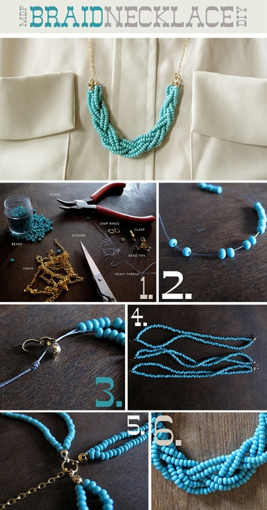 DIY Beaded Braid Necklace #diy #fashion #jewelry